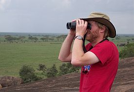 TJ conducting field work in Tanzania.