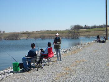 Creel Clerk interviewing anglers