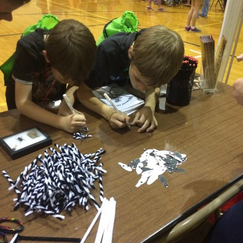 Youth  creating Asian Long Horned Beetle Rings. Photo: Allison Zach