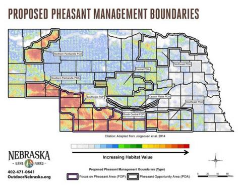 Priority pheasant management areas defined by the Nebraska Game and Parks Commission in the Berggrenn Plan using models developed through this study. Graphic courtesy of the Nebraska Game and Parks Commission