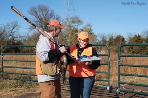 A pheasant hunter being interviewed in the Rainwater Basin. Photo courtesy of NEBRASKALand Magazine