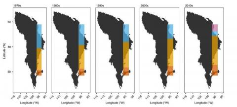 Black polygons represent the historic Great Plains biome extent. Coloured bars represent the predicted extents of spatial regimes in the study area over five decades.